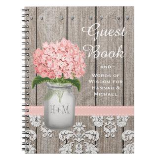 Monogrammed Mason Jar Pink Hydrangea Guest Book