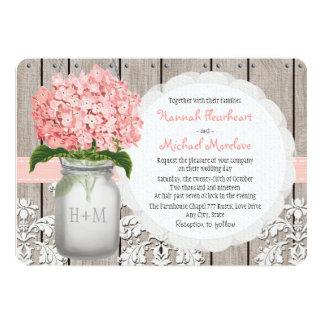 Monogrammed Mason Jar Pink Hydrangea Wedding 5x7 Paper Invitation Card