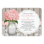 Monogrammed Mason Jar Pink Hydrangea Wedding Personalized Invitations