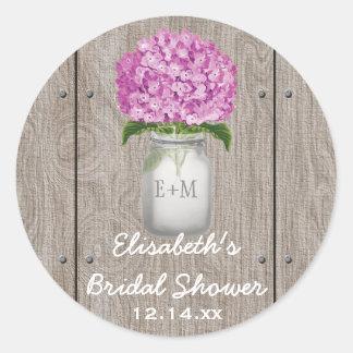 Monogrammed Mason Jar Plum Hydrangea Bridal Shower Classic Round Sticker
