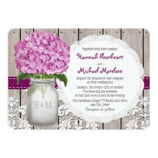 Monogrammed Mason Jar Plum Hydrangea Wedding Card