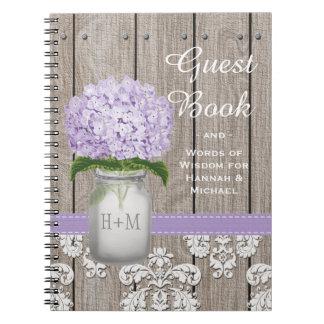 Monogrammed Mason Jar Purple Hydrangea Guest Book