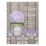 Monogrammed Mason Jar Purple Hydrangea Guest Book Spiral Notebook
