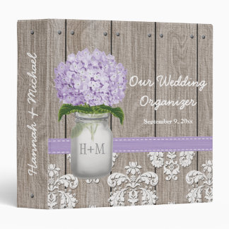 Monogrammed Mason Jar Purple Hydrangea Wedding 3 Ring Binder