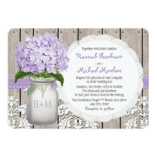 Monogrammed Mason Jar Purple Hydrangea Wedding Card