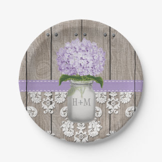 Monogrammed Mason Jar Purple Hydrangea Wedding Paper Plate