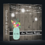 """Monogrammed Mason Jar Rustic Wedding Wood Recipe Binder<br><div class=""""desc"""">Rustic barn wood, mason jar wedding binder- Elegant, rustic country wood, monogrammed wedding keepsake- Rustic, gray barn wood planks background on front, spine, and back. Front has country style, hanging string lights and glowing look mason jar lanterns. A country mason jar in mint green is personalized with couple&#39;s initials and...</div>"""