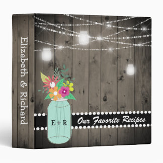 Monogrammed Mason Jar Rustic Wedding Wood Recipe Binder
