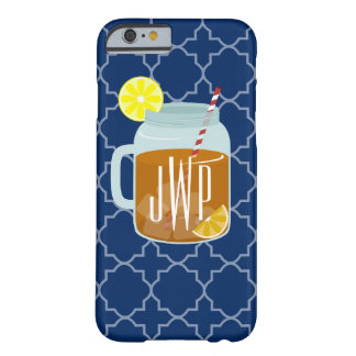 Monogrammed Mason Jar Sweet Tea - Navy Quatrefoil Barely There iPhone 6 Case
