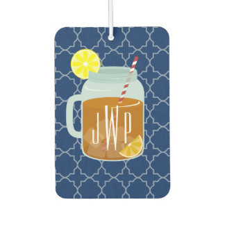 Monogrammed Mason Jar Sweet Tea - Navy Quatrefoil Car Air Freshener