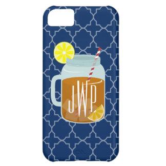 Monogrammed Mason Jar Sweet Tea - Navy Quatrefoil Cover For iPhone 5C