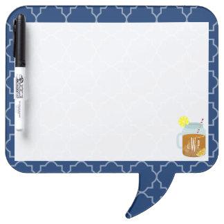 Monogrammed Mason Jar Sweet Tea - Navy Quatrefoil Dry-Erase Board