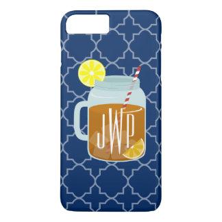 Monogrammed Mason Jar Sweet Tea - Navy Quatrefoil iPhone 7 Plus Case