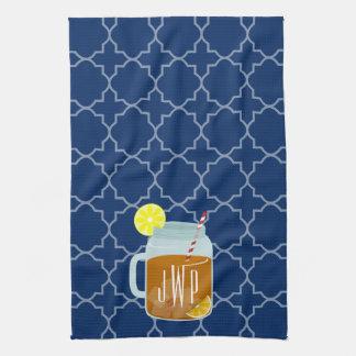 Monogrammed Mason Jar Sweet Tea - Navy Quatrefoil Kitchen Towel