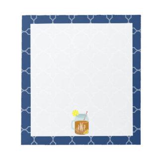 Monogrammed Mason Jar Sweet Tea - Navy Quatrefoil Notepad
