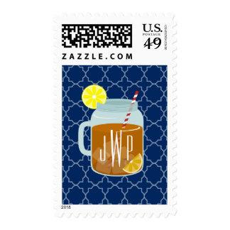 Monogrammed Mason Jar Sweet Tea - Navy Quatrefoil Postage