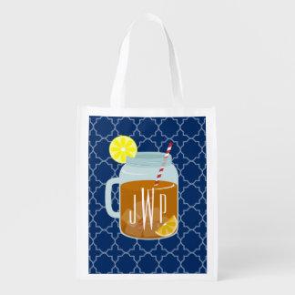 Monogrammed Mason Jar Sweet Tea - Navy Quatrefoil Reusable Grocery Bags