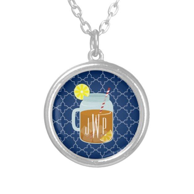 Monogrammed Mason Jar Sweet TeaNavy Quatrefoil Round Pendant