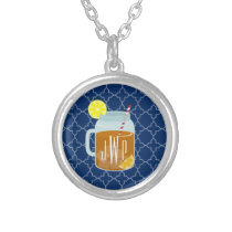 Monogrammed Mason Jar Sweet Tea - Navy Quatrefoil Silver Plated Necklace