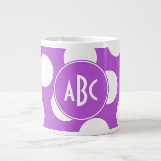 Monogrammed Medium Orchid and White Polka Dots 20 Oz Large Ceramic Coffee Mug