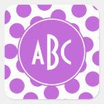 Monogrammed Medium Orchid Polka Dots Stickers
