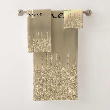 Monogrammed Metallic 14k Gold Dripping Glitter Bath Towel Set