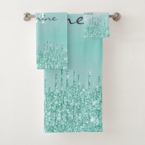 Monogrammed Metallic Aqua Blue Dripping Glitter Bath Towel Set