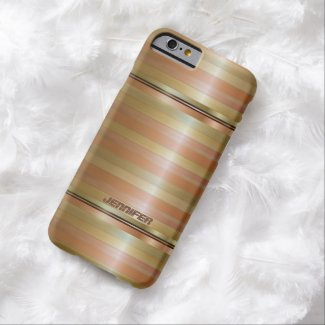 Monogrammed Metallic Copper Stripes