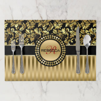 Monogrammed Metallic Gold Damask And Stripes Paper Placemat