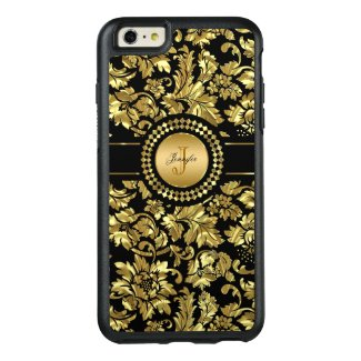 Monogrammed Metallic Gold Damask