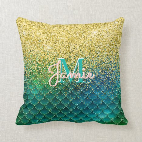 Monogrammed Metallic Gold Glitter & Green Mermaid Throw Pillow