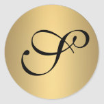 Monogrammed metallic gold sticker seal