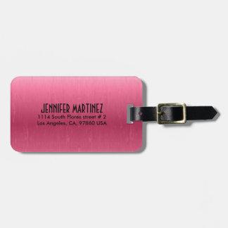 Monogrammed Metallic Pink  Brushed Aluminum Look Bag Tag