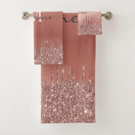 Monogrammed Metallic Rose Gold Dripping Glitter Bath Towel Set