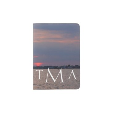 Beach Themed Monogrammed Metedeconk River Passport Holder