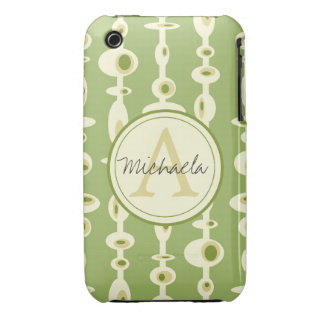 Monogrammed Mid-Century Modern Customizable Case-Mate iPhone 3 Cases