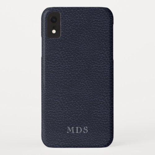 Monogrammed Midnight Blue Faux Leather Look Phone Case