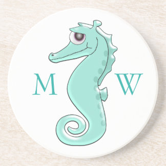 Monogrammed Mint Coloured Seahorse Drink Coaster