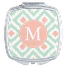 Monogrammed Mint Coral Diamond Ikat Pattern Mirror For Makeup at Zazzle