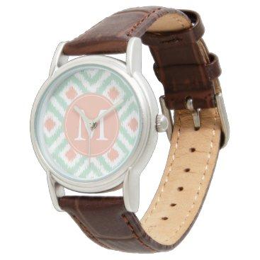 heartlocked Monogrammed Mint Coral Diamond Ikat Pattern Wristwatch