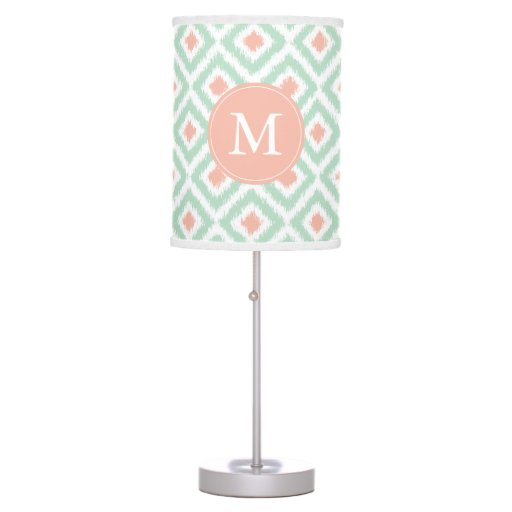 Monogrammed Mint Coral Diamonds Ikat Pattern Desk Lamp