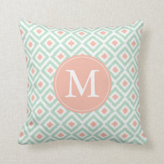 Monogrammed Mint Coral Diamonds Ikat Pattern Pillows