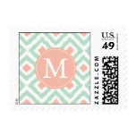 Monogrammed Mint Coral Diamonds Ikat Pattern Stamps