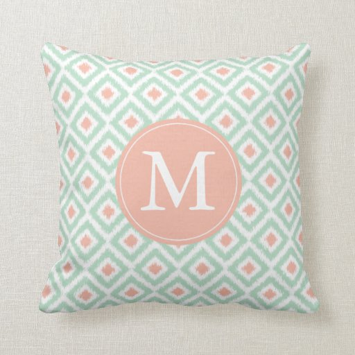 Ikat Design Throw Pillows : Monogrammed Mint Coral Diamonds Ikat Pattern Throw Pillow Zazzle