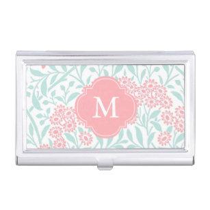 Monogrammed Mint Coral Floral Damask Pattern Business Card Case