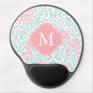 Monogrammed Mint Coral Floral Damask Pattern Gel Mousepad
