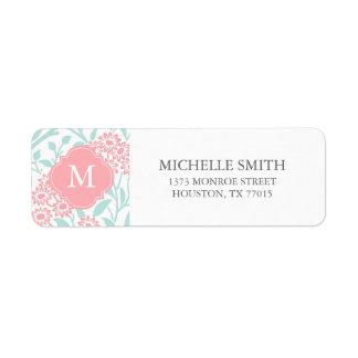 Monogrammed Mint Coral Floral Damask Pattern Label