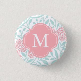 Monogrammed Mint Coral Floral Damask Pattern Pinback Button