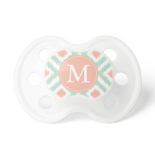 Monogrammed Mint Coral Ikat Pattern Pacifier
