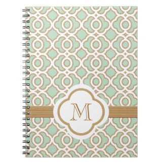 Monogrammed Mint Green and Gold Moroccan Spiral Notebook